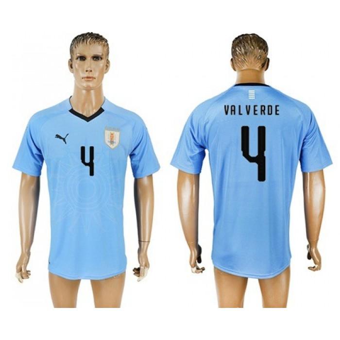 Uruguay #4 Valverde Home Soccer Country Jersey