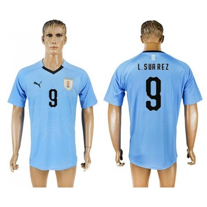 Uruguay #9 L.Suarez Home Soccer Country Jersey