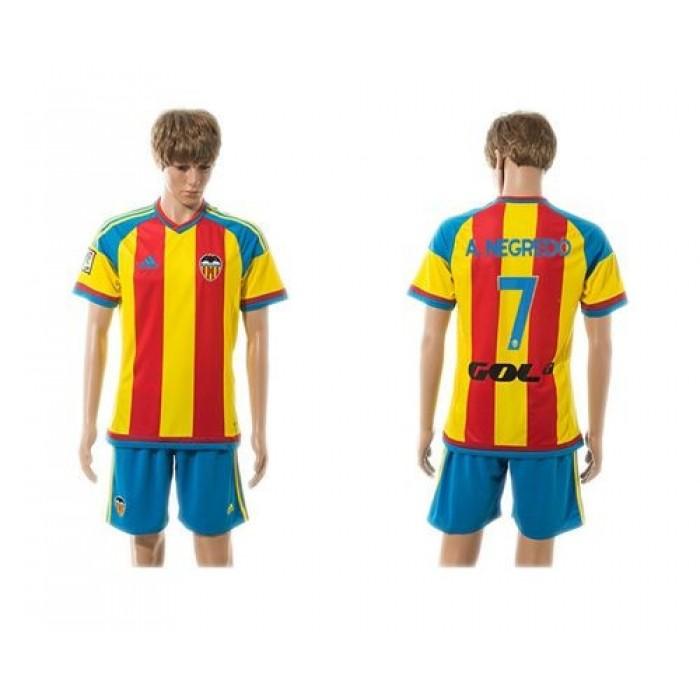 Valencia #7 A.Negredo Away Soccer Club Jersey