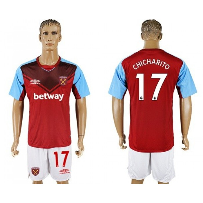West Ham United #17 Chicharito Home Soccer Club Jersey
