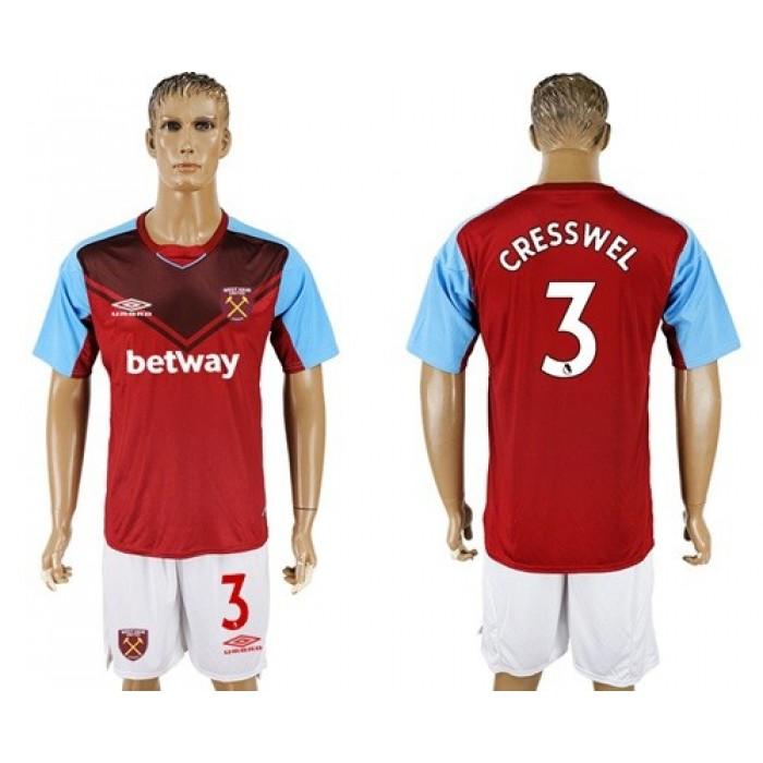 West Ham United #3 Cresswel Home Soccer Club Jersey