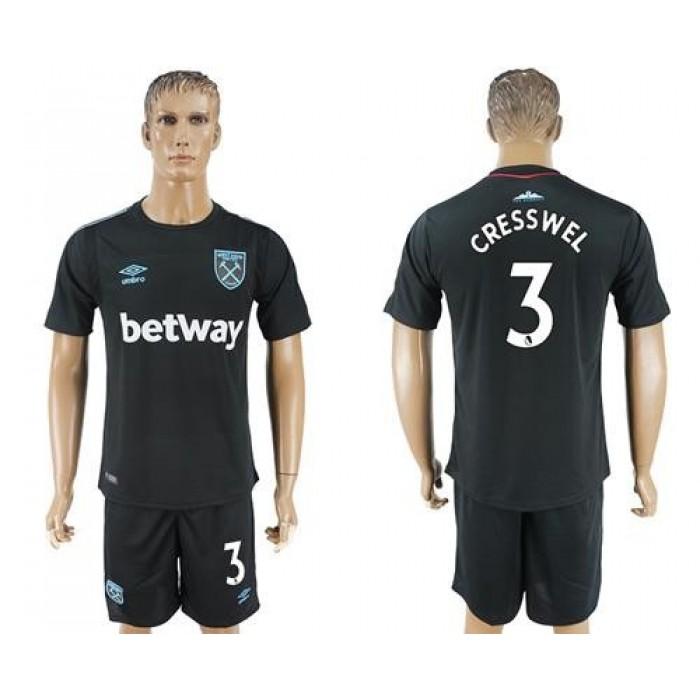West Ham United #3 Cresswell Away Soccer Club Jersey